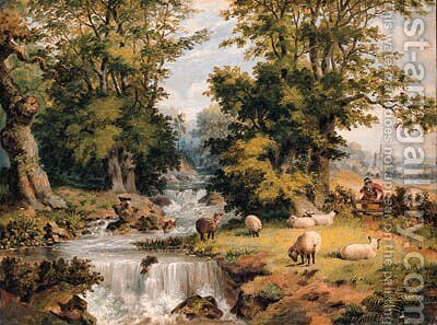 A Landscape With Sheep Grazing By A Stream And A Woman Crossing A Stile by Dean Wolstenholme, Jr - Reproduction Oil Painting