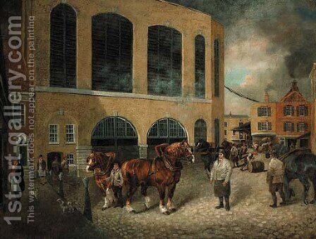 View of the Black Eagle Brewery, Brick Lane, Whitechapel, London by Dean Wolstenholme, Jr - Reproduction Oil Painting