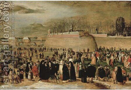 A winter carnival with figures on the ice before the Kipdorppoort Bastion in Antwerp by Denys Van Alsloot - Reproduction Oil Painting