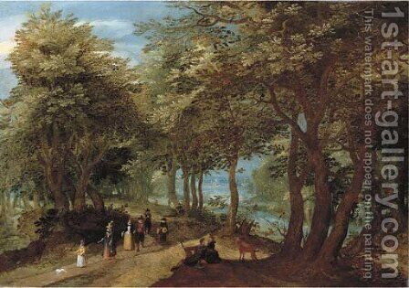 A wooded landscape with an amorous couple seated by a tree and elegant company strolling on a path near a river by Denys Van Alsloot - Reproduction Oil Painting