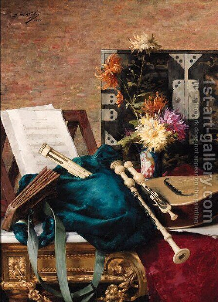 Musical Instruments and a Music Score with Flowers on a Table by Desire de Keghel - Reproduction Oil Painting