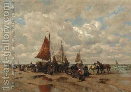 A beachscene with fisherfolk sorting the catch by Desire Thomassin - Reproduction Oil Painting