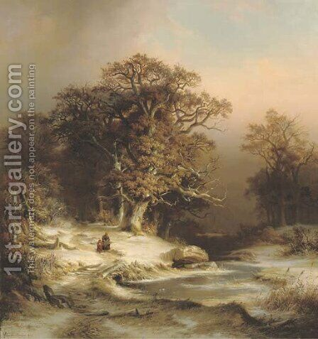 Along a stream in winter by Dietrich Langko - Reproduction Oil Painting