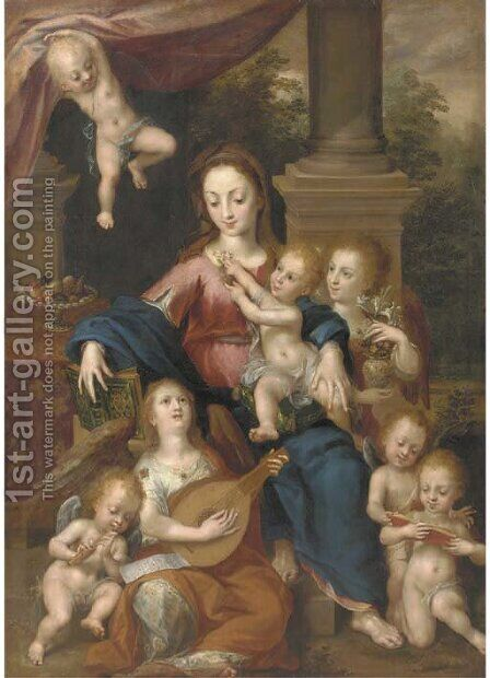 The Virgin and Child with Angels making music by Dirck de Quade Van Ravesteyn - Reproduction Oil Painting