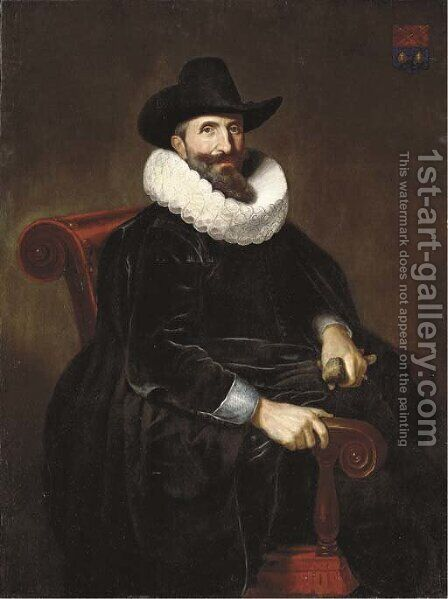 Portrait of Elias van Cuelen (c. 1585-c. 1652), seated, three-quarter-length, in a black velvet doublet with a white lace ruff and a black hat by Dirck Dircksz. Santvoort - Reproduction Oil Painting