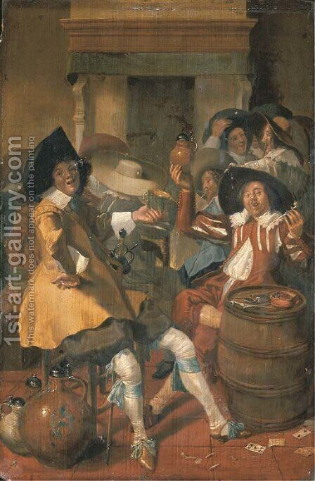 Elegantly dressed men merrymaking in an interior by Dirck Hals - Reproduction Oil Painting