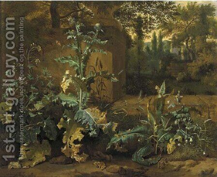 Frogs, butterflies and snails amid undergrowth near a wall, an Italianate garden beyond by Dirck Maas - Reproduction Oil Painting