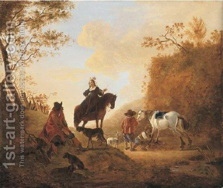 A landscape with hunters resting by a path by Dirck Willemsz. Stoop - Reproduction Oil Painting