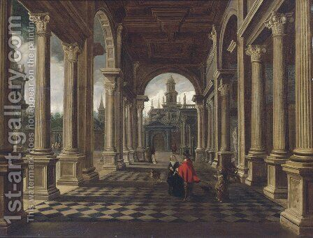 An architectural capriccio with elegant company by Dirck Van Delen - Reproduction Oil Painting