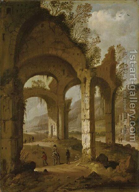 Classical ruins with travelers by Dirck Verhaert - Reproduction Oil Painting