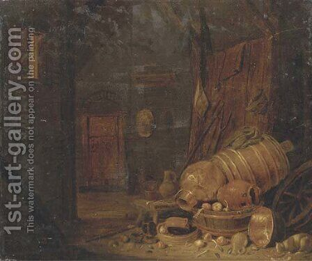 A barn interior with copper pots, wooden barrels and a cat drinking milk nearby by Dirck Wijntrack - Reproduction Oil Painting