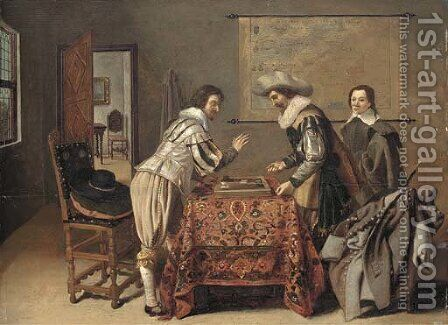 Gentlemen playing tric-trac around a table in an interior by Dirck Witting - Reproduction Oil Painting