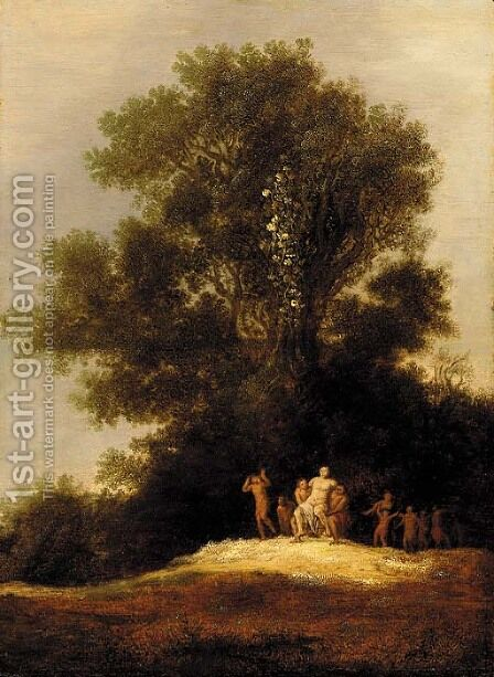 A landscape with Silenus leading a Bacchanal by Dirk The Elder Dalens - Reproduction Oil Painting