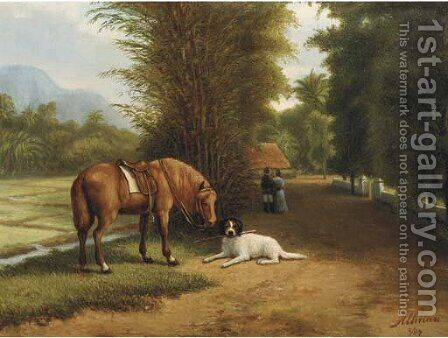 Indonesian landscape with horse and dog by Dirk G. Altman - Reproduction Oil Painting
