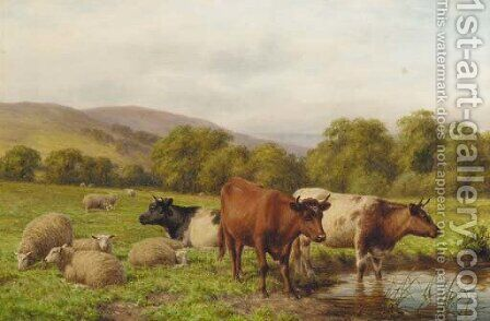 Cattle and sheep resting in a water meadow by Dixon Clark - Reproduction Oil Painting