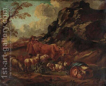 A mountainous landscape with a herdsman in the foreground by Domenico Brandi - Reproduction Oil Painting