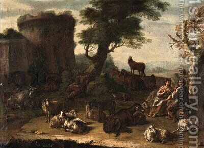 Cows, sheep, and other farm animals resting in a landscape, with a courting couple and a sleeping shepherd, a ruin beyond by Domenico Brandi - Reproduction Oil Painting