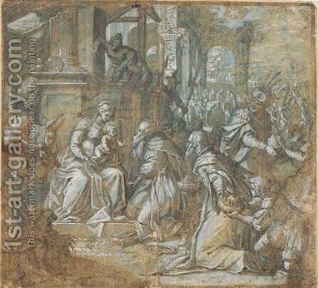 The Adoration of the Magi by Domenico Brusasorci - Reproduction Oil Painting