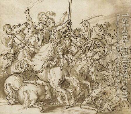 A battle scene by Domenico Campagnola - Reproduction Oil Painting