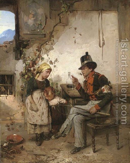 The post boy by Domenico Induno - Reproduction Oil Painting