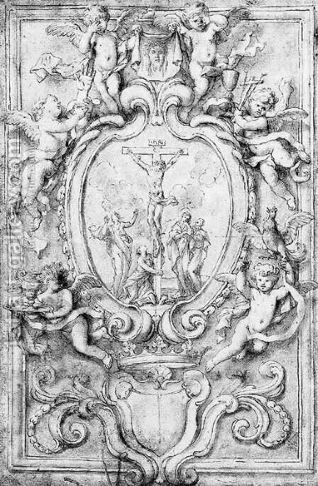 The Crucifixion in a cartouche, surrounded by putti bearing symbols of the Passion design for a frontispiece by Domenico Piola - Reproduction Oil Painting