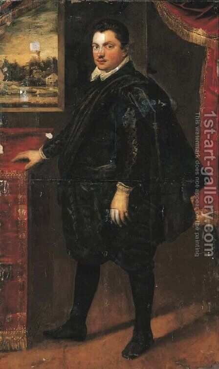 Portrait of a gentleman, full-length, standing in an interior by Domenico Tintoretto (Robusti) - Reproduction Oil Painting