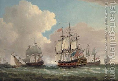 H.M.S. Ocean joining Admiral Keppel's fleet off Ushant, July 1778 by Dominic Serres - Reproduction Oil Painting