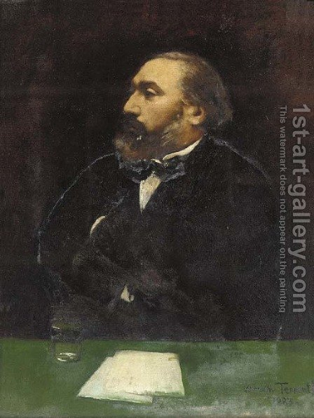 Portrait of Leon Gambetta (1838-1882), half-length, in a black jacket and white shirt, at a writing desk by Dorothy Tennant - Reproduction Oil Painting