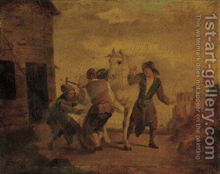 Blacksmiths shoeing a horse by Dutch School - Reproduction Oil Painting