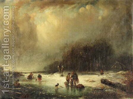 Figures in a frozen landscape by Dutch School - Reproduction Oil Painting