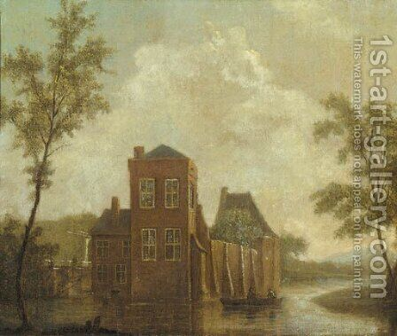 A castle by a river with fishermen in a rowing boat by Dutch School - Reproduction Oil Painting