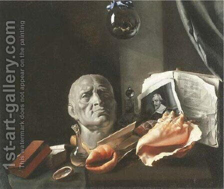 A Vanitas still-life with a bust, seashells, books, and glass flasks by Dutch School - Reproduction Oil Painting