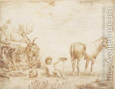 An infant pouring water from a dish, flanked by a horse, a rabbit and two goats, two figures with a cow in the background 2 by Dutch School - Reproduction Oil Painting