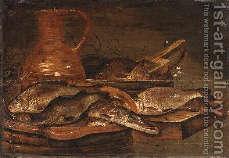 Fish and a Jug on a Barrel and a wooden Ledge by Dutch School - Reproduction Oil Painting