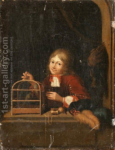 A Boy holding a Birdcage at a Casement by Dutch School - Reproduction Oil Painting