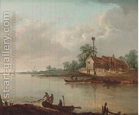 Fishermen on a river with barns beyond by Dutch School - Reproduction Oil Painting