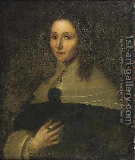 Portrait of a lady, half-length, in a black dress with white cuffs and collar by Dutch School - Reproduction Oil Painting