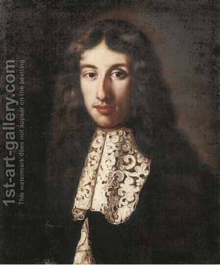 Portrait of a young man, said to be Johann de Witt (1625-1672) by Dutch School - Reproduction Oil Painting