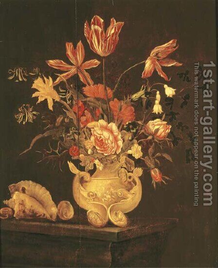 Tulips, roses, a daffodil and other flowers in a sculpted urn with shells on a table ledge by Dutch School - Reproduction Oil Painting