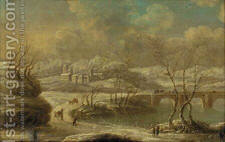 A busy track by a bridge in a winter landscape by Dutch School - Reproduction Oil Painting