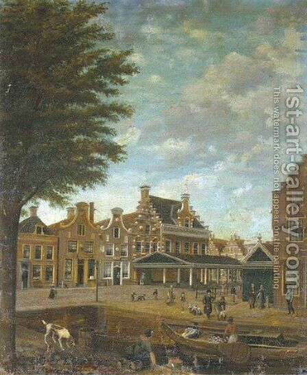 A canal in a Dutch town with merchants loading a vessel and other figures strolling in the streets by Dutch School - Reproduction Oil Painting