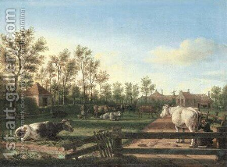 Cattle in an enclosed pasture by Dutch School - Reproduction Oil Painting