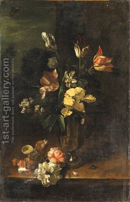 Flowers in a pewter Jug and on a stone Ledge by Dutch School - Reproduction Oil Painting