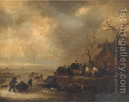 Figures on a frozen lake, with an inn on the bank by Dutch School - Reproduction Oil Painting