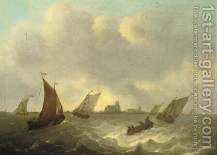 Shipping in choppy waters, a town beyond by Dutch School - Reproduction Oil Painting