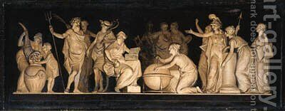 The contest of Minerva and Neptune, a feigned bas-relief by Dutch School - Reproduction Oil Painting