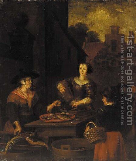 The Fish Seller by Dutch School - Reproduction Oil Painting