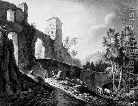 The ruins of a Roman aquaduct by Dutch School - Reproduction Oil Painting