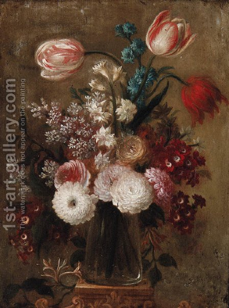 Tulips, carnations, narcissi and other flowers in a glass vase on a pedestal by Dutch School - Reproduction Oil Painting