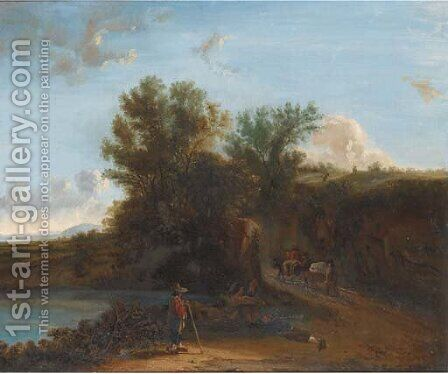 Travellers at the bend in the road by Dutch School - Reproduction Oil Painting